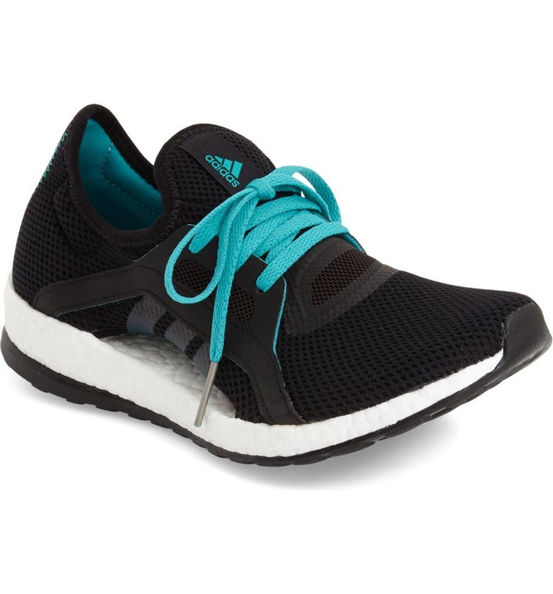 ADIDAS 'Pure Boost X' Running Shoe, Main, color, BLACK/ SHOCK GREEN