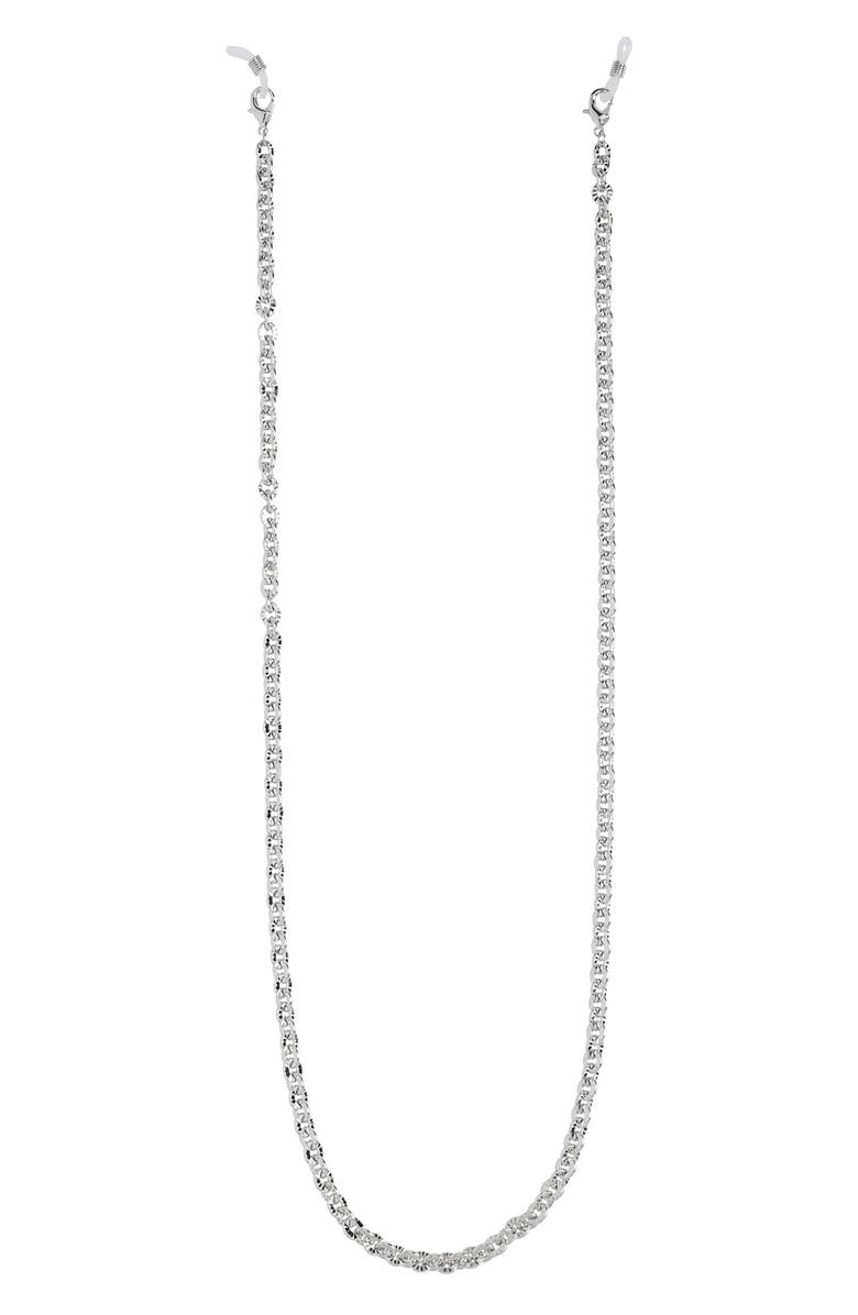 HALOGEN<SUP>®</SUP> Textured Metal Adult Face Mask Chain, Main, color, RHODIUM