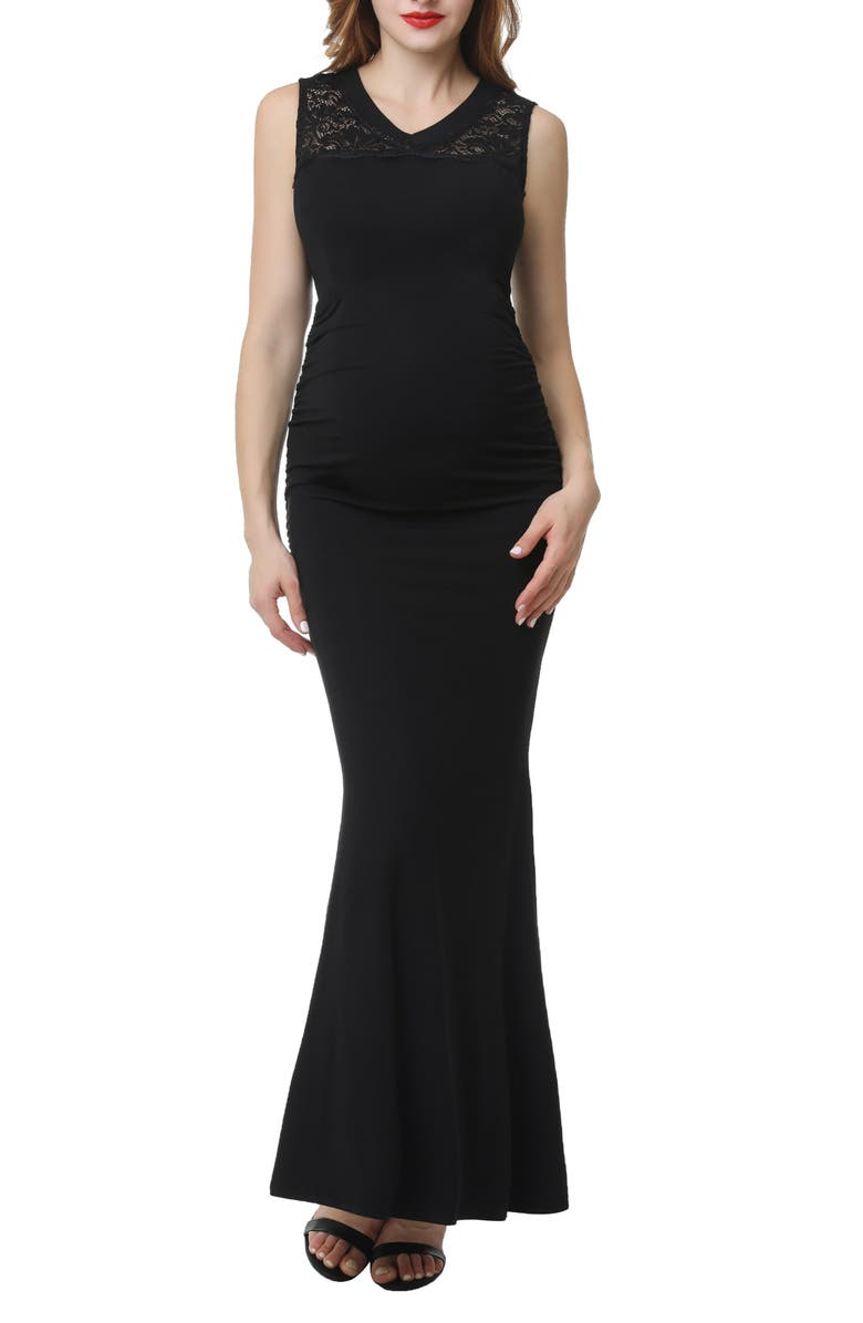 KIMI AND KAI Tilda Maternity Mermaid Gown, Main, color, BLACK