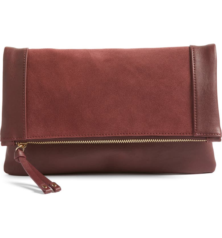 SOLE SOCIETY Jemma Suede Clutch, Main, color, 609