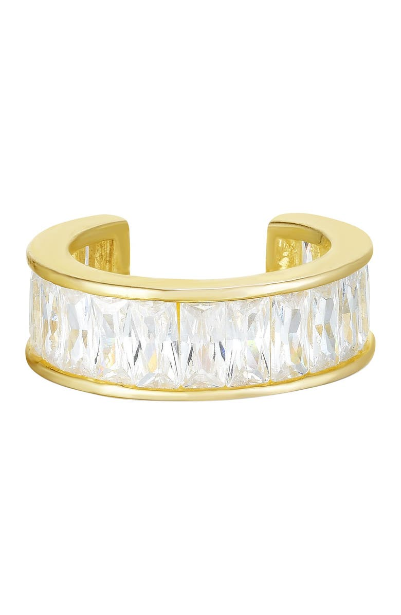 SPHERA MILANO 14K Yellow Gold Plated Sterling Silver Baguette-Cut CZ Ear Cuff, Main, color, YELLOW GOLD
