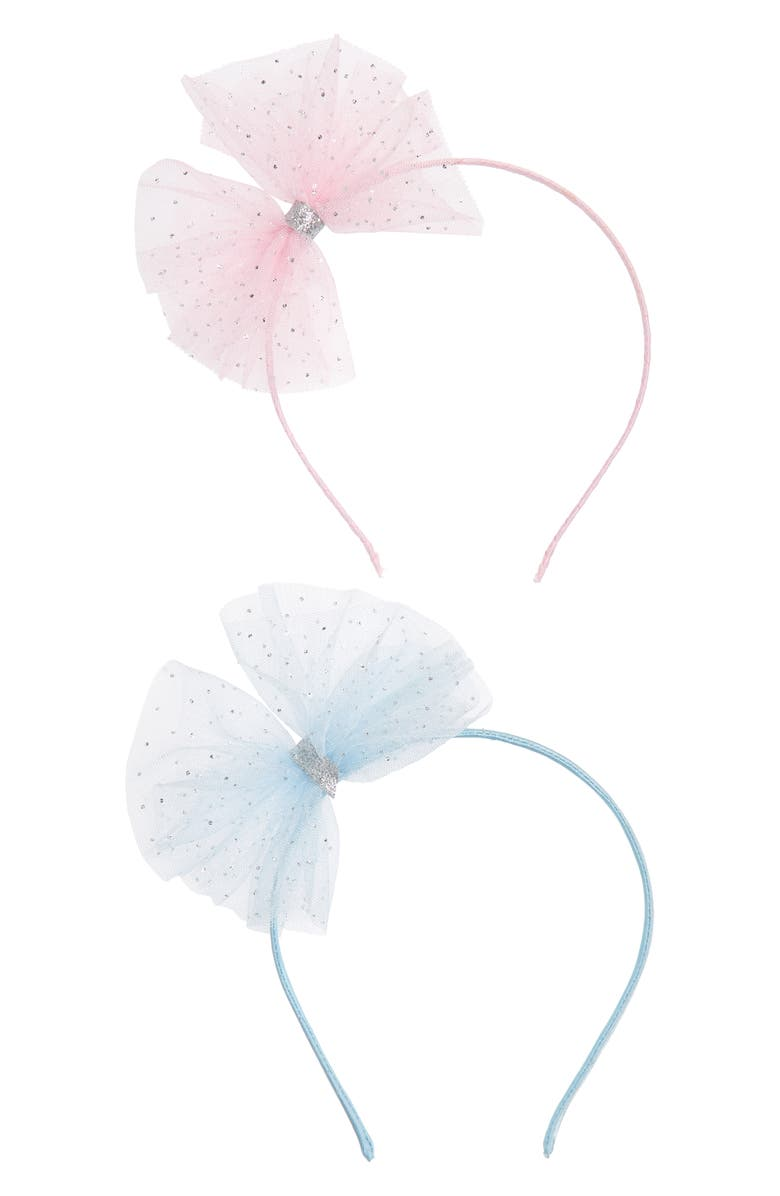MANIÈRE Kids' Tulle Bow Headband, Main, color, BLUE/PINK