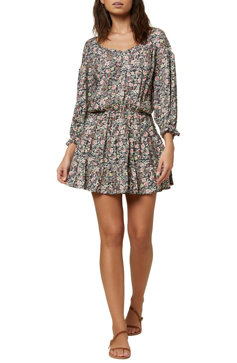 O'NEILL Amaryn Ditsy Floral Long Sleeve Minidress, Main, color, ABYSS