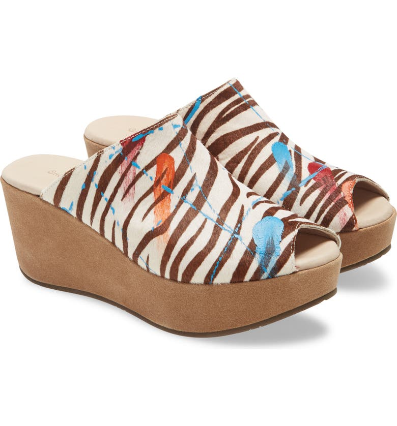 CHOCOLAT BLU Yiona Genuine Calf Hair Wedge Slide Sandal, Main, color, ZEBRA PRINT CALF HAIR