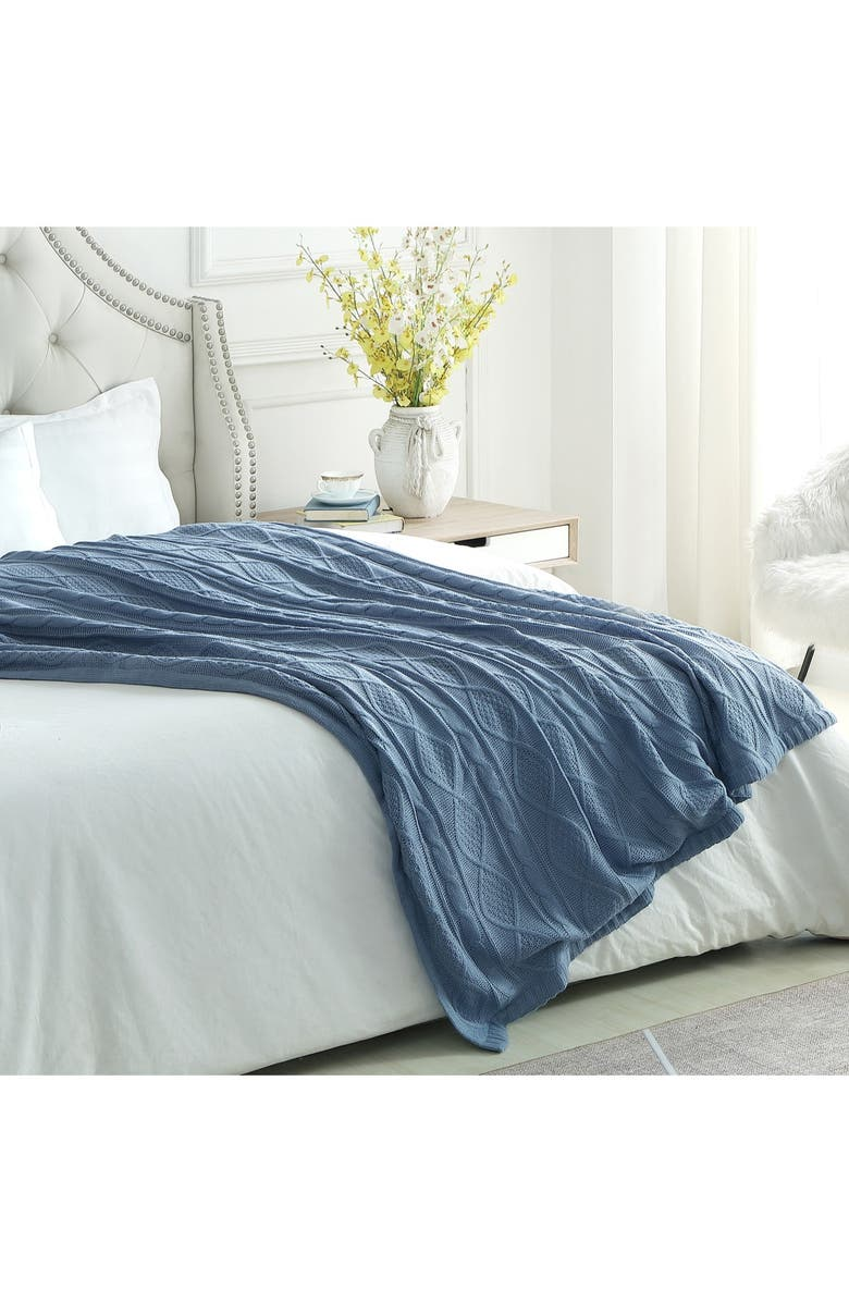 """INSPIRED HOME Cozy Tyme Zaim Cable Knit Throw 50"""" x 60"""" - Light Blue, Main, color, LIGHT BLUE"""