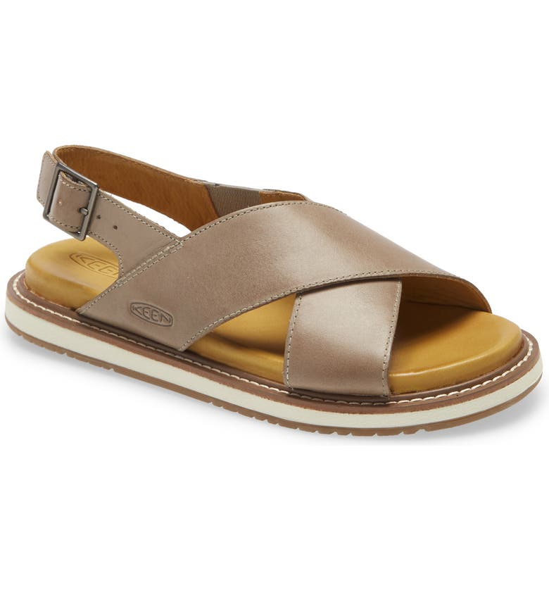 KEEN Lana Cross Strap Sandal, Main, color, DRIZZLE/ SILVER BIRCH LEATHER