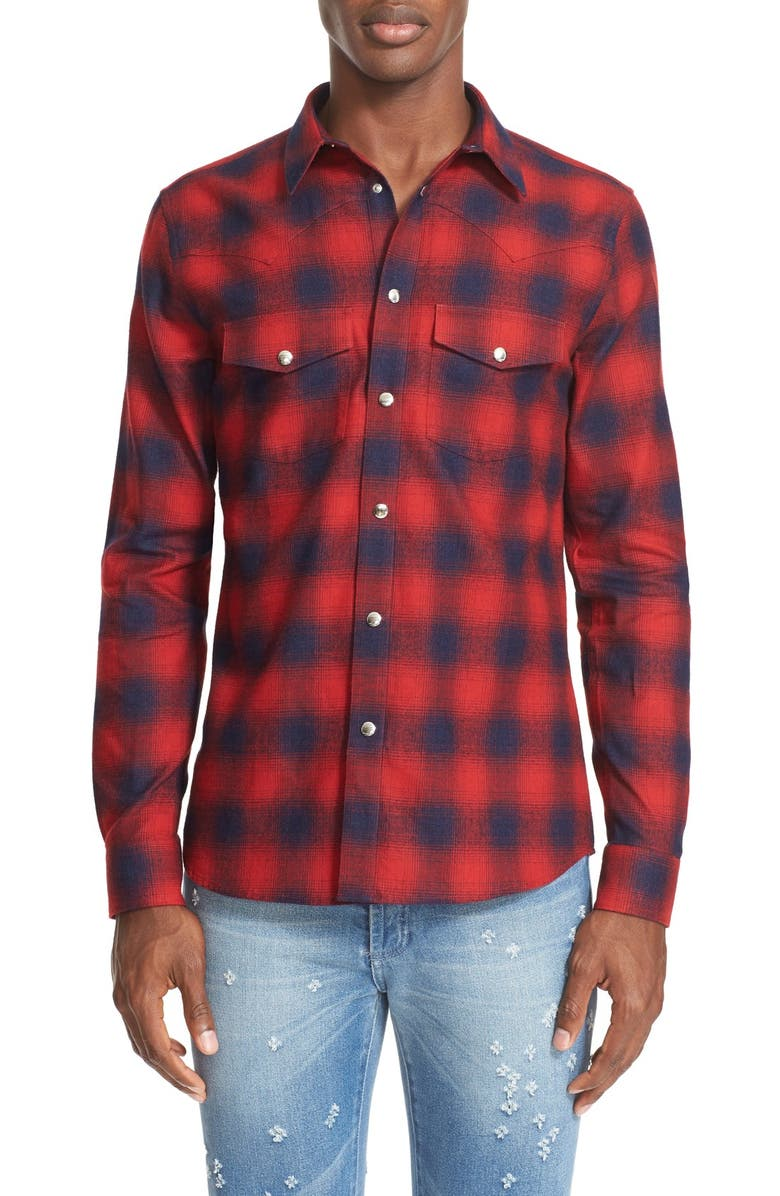 GIVENCHY Extra Trim Fit Plaid Flannel Western Shirt, Main, color, 600