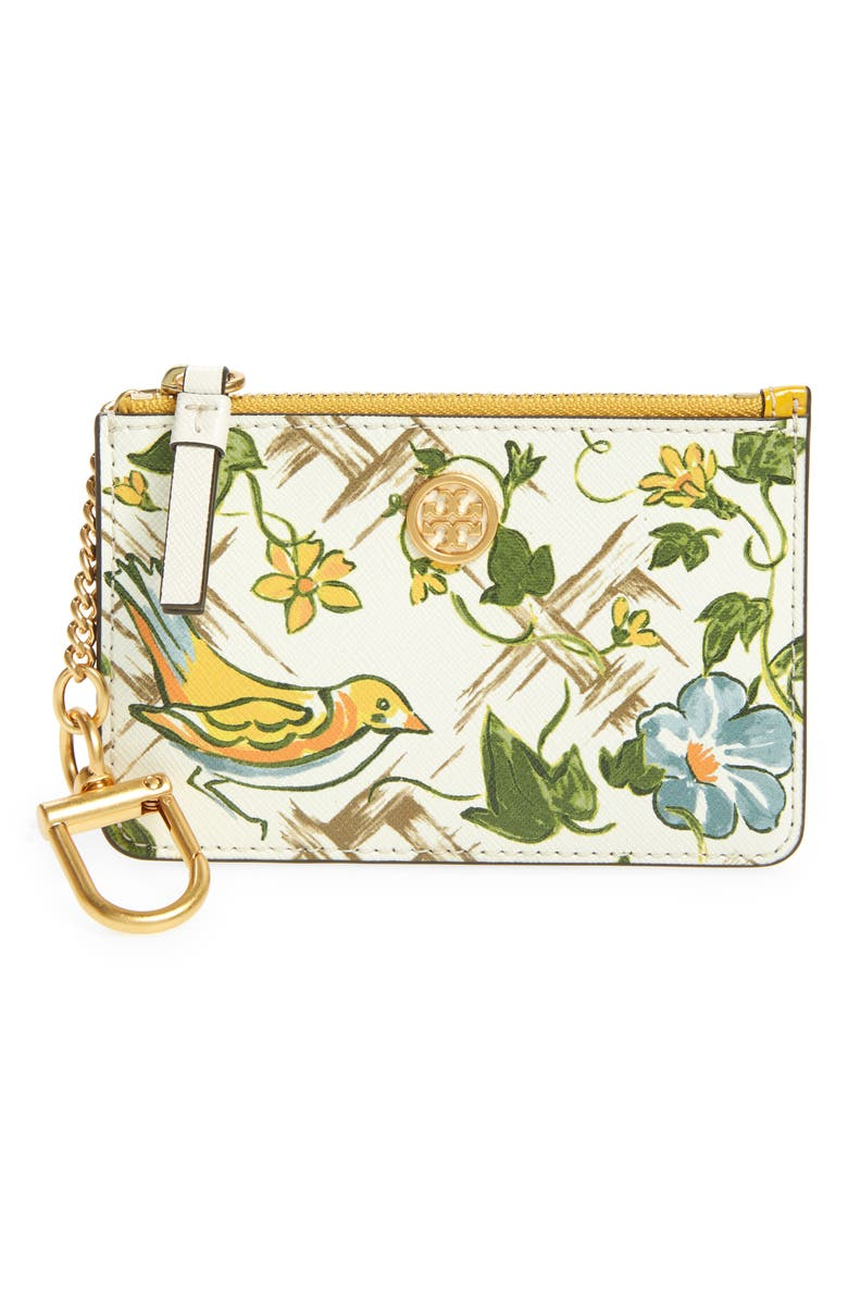 TORY BURCH Robinson Print Coated Leather Card Case with Key Fob, Main, color, SUMMER BASKETWEAVE