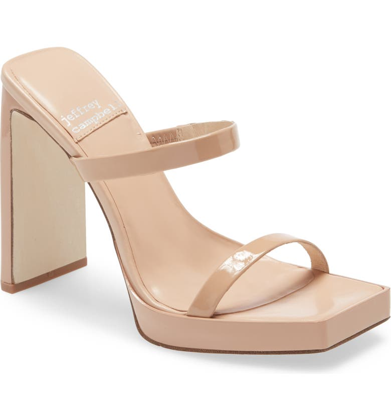JEFFREY CAMPBELL Hustler Platform Sandal, Main, color, NUDE PATENT LEATHER