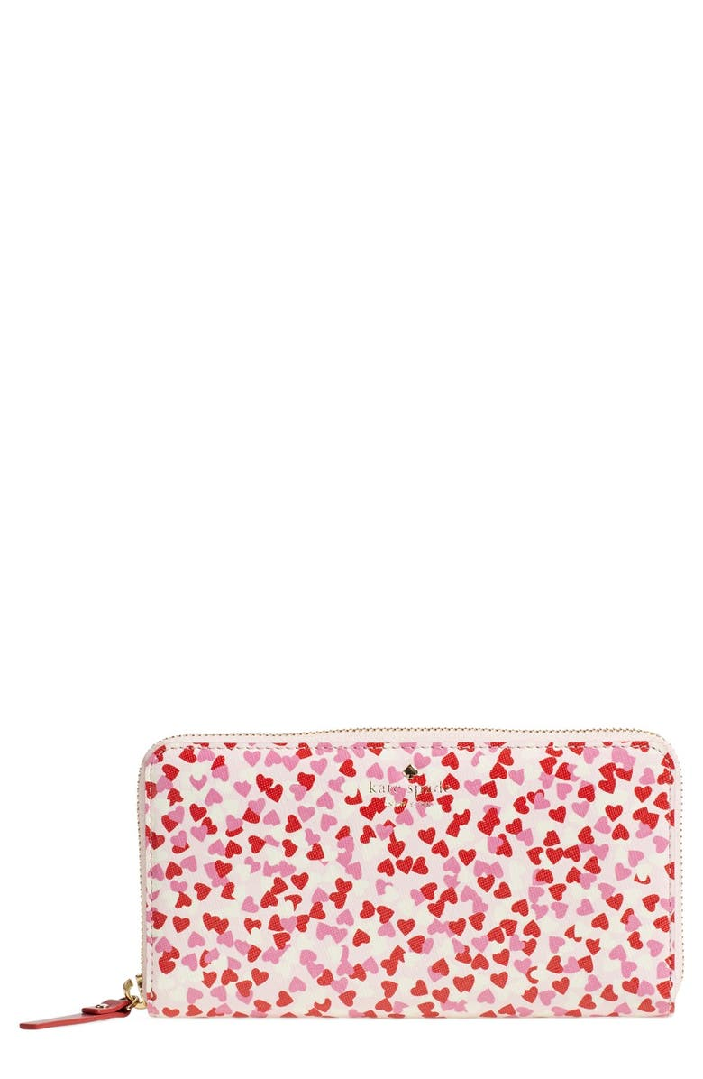 KATE SPADE NEW YORK 'confetti print lacey' zip around wallet, Main, color, 600