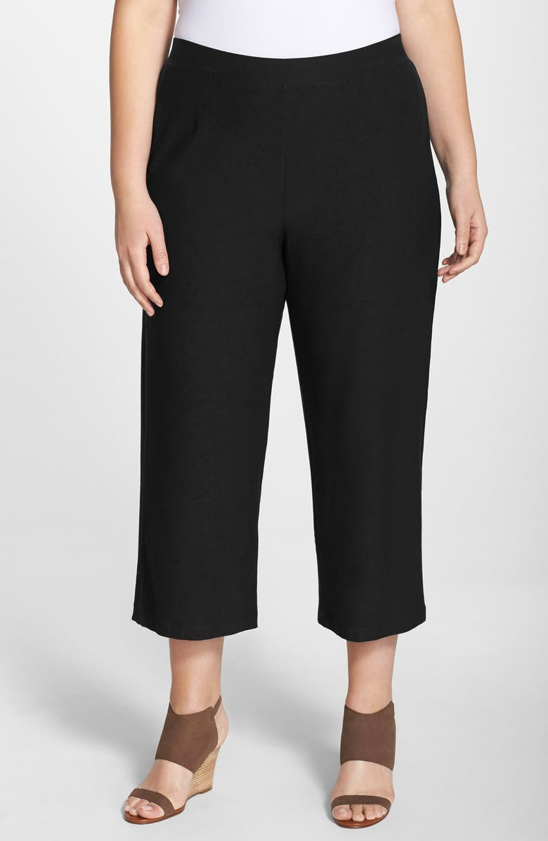 EILEEN FISHER Wide Leg Washable Stretch Crepe Crop Pants, Main, color, 001