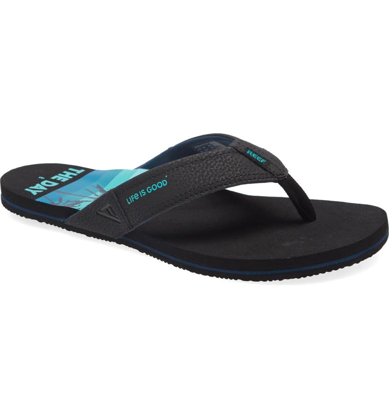 REEF Newport x Life is Good<sup>®</sup> Flip Flop, Main, color, SEAS THE DAY BLACK