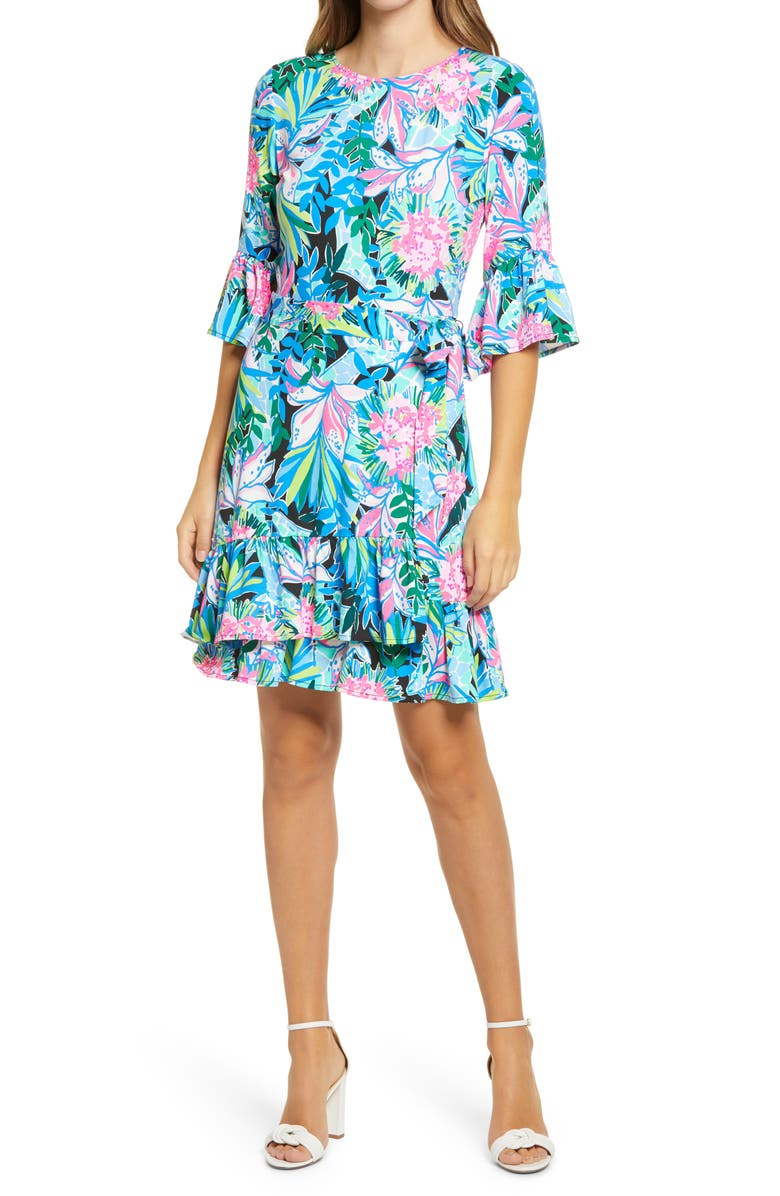 LILLY PULITZER<SUP>®</SUP> Kassi A-Line Dress, Main, color, ONYX YOU ME AND GIRAFFEE