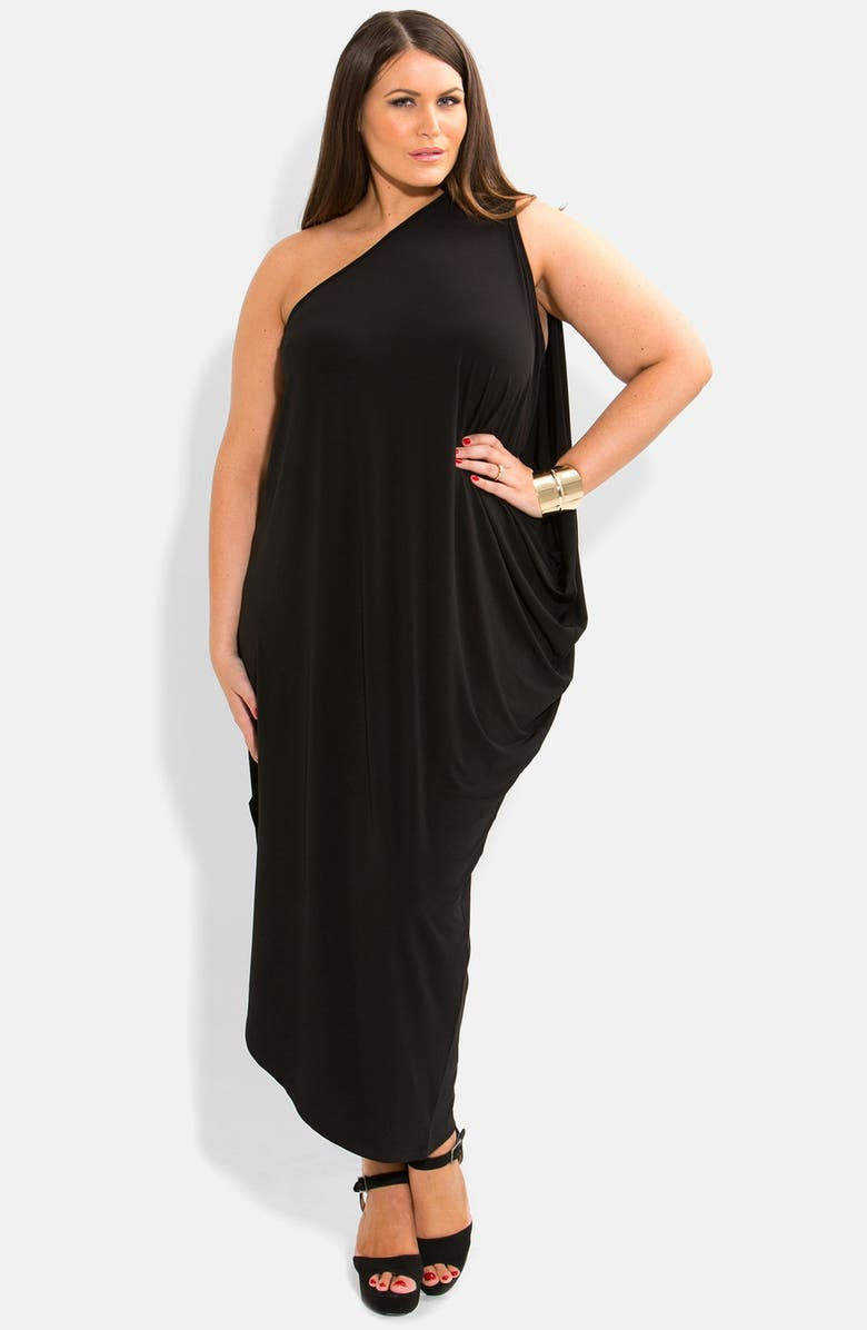 CITY CHIC One-Shoulder Draped Jersey Maxi Dress, Main, color, 001