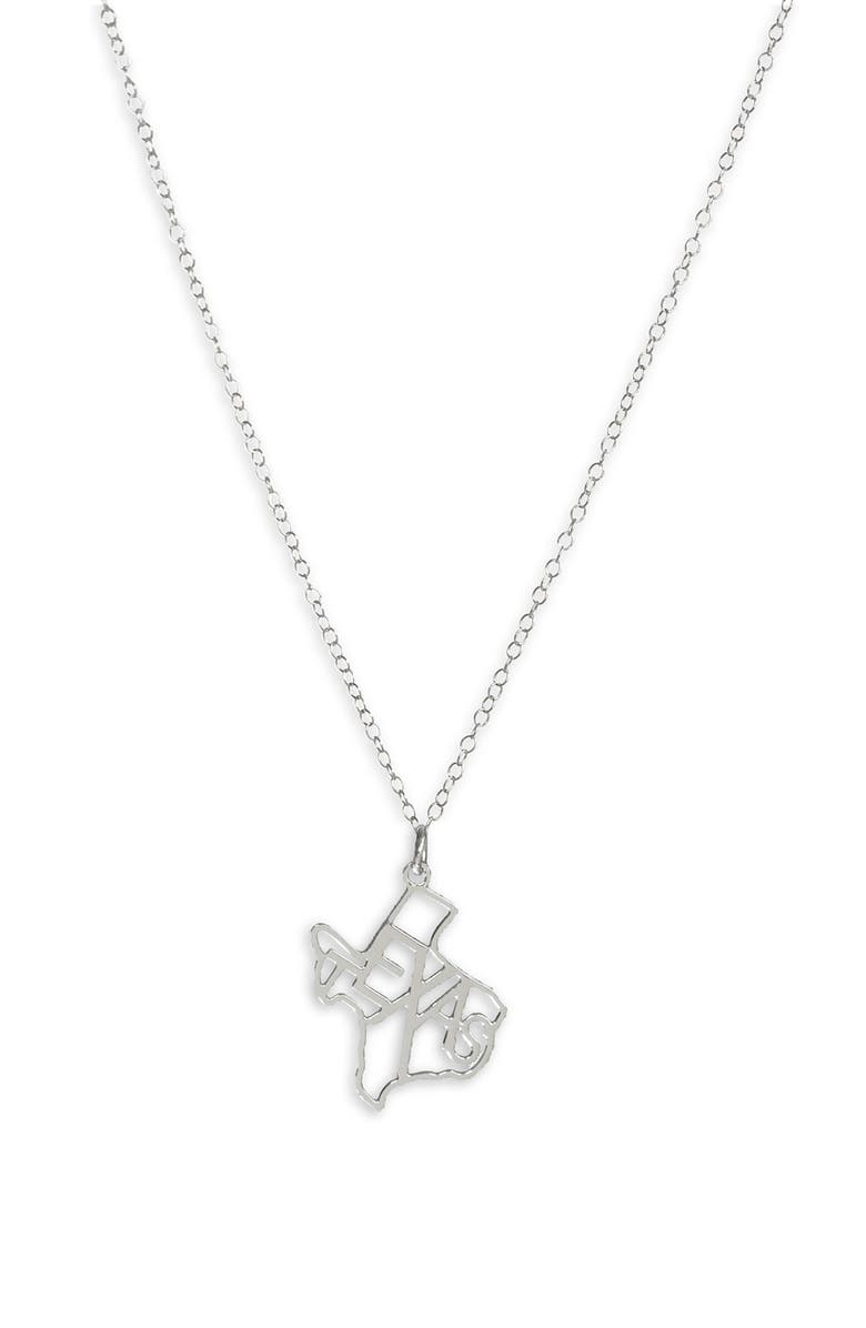 KRIS NATIONS State Pendant Necklace, Main, color, TEXAS - SILVER