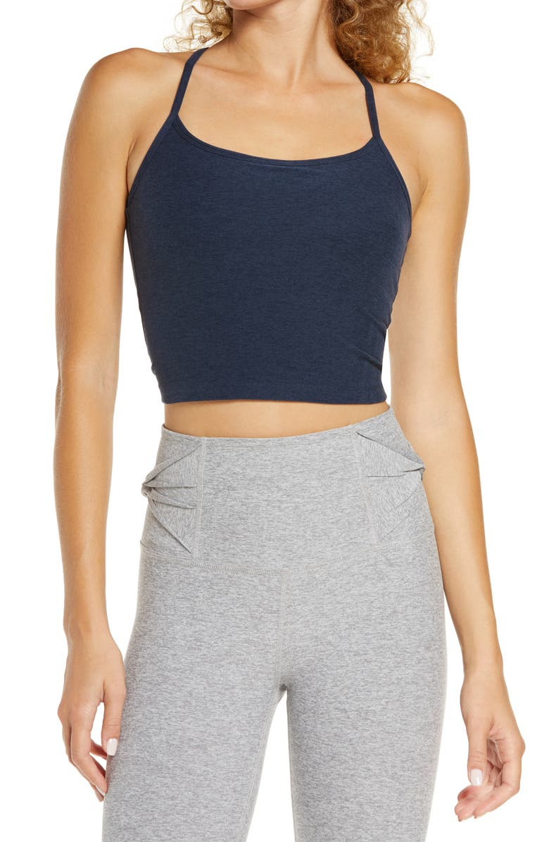 BEYOND YOGA Space Dye Crop Tank, Main, color, NOCTURNAL NAVY
