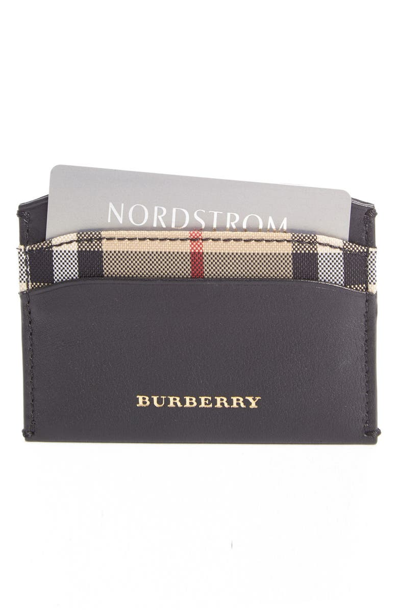 BURBERRY 'Izzy' Calfskin Leather Card Holder, Main, color, 001