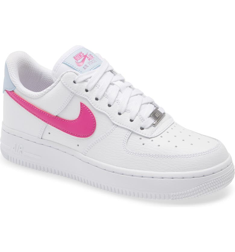 NIKE Air Force 1 '07 ESS Sneaker, Main, color, WHITE/ FIRE PINK/ BLUE