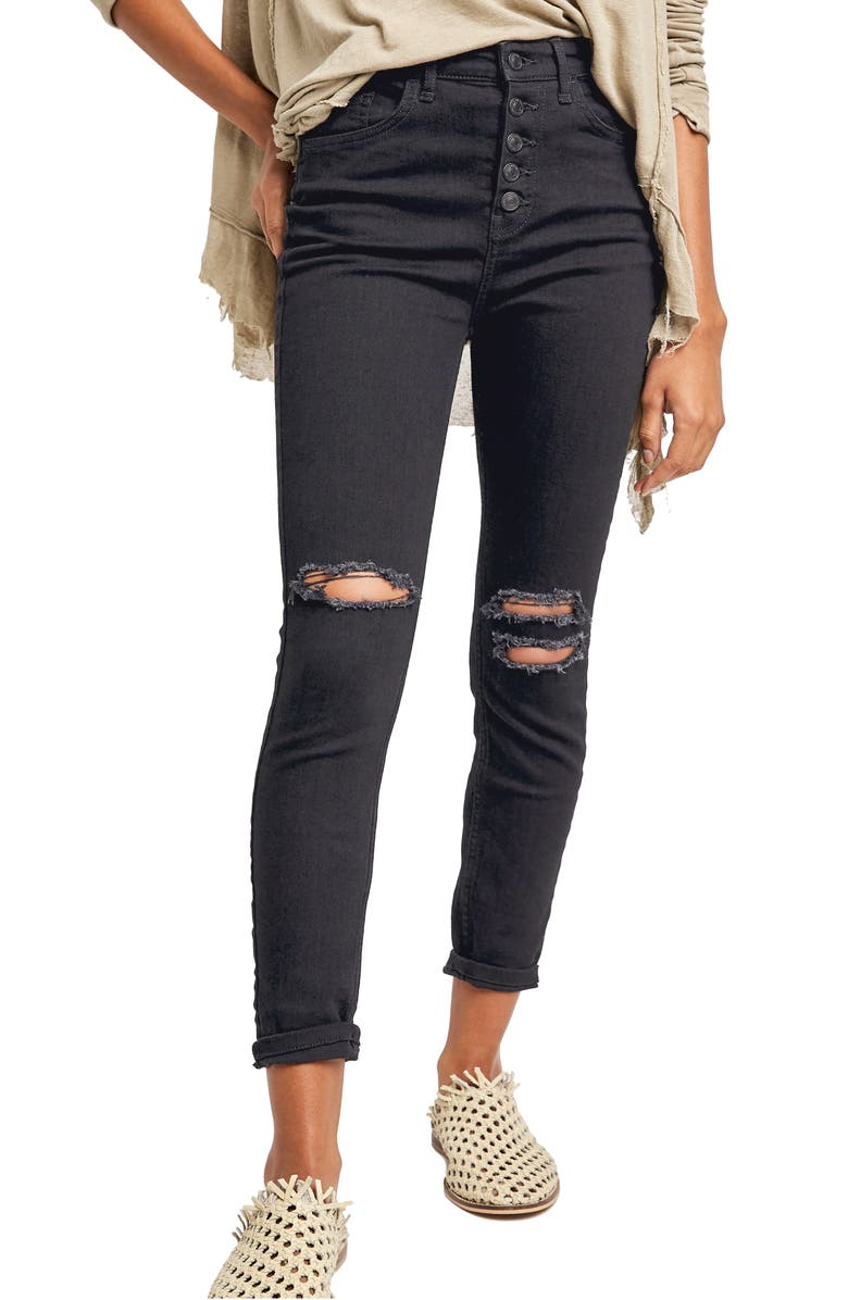 FREE PEOPLE Sabrina Button Front High Waist Super Skinny Jeans, Main, color, BLACK