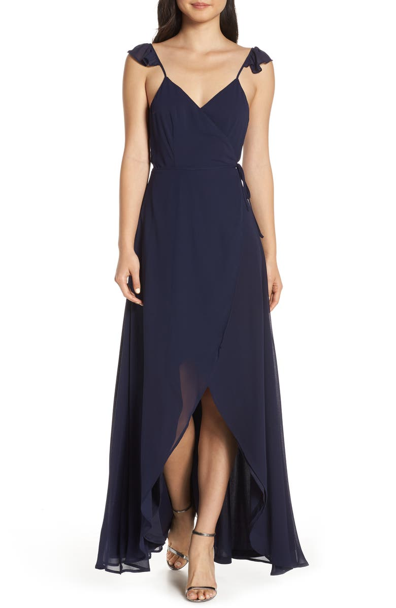 LULUS Here's to Us High/Low Wrap Evening Dress, Main, color, 410