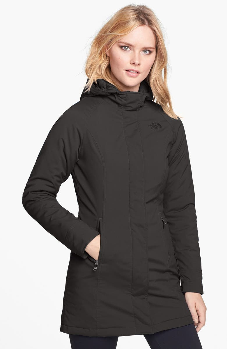 THE NORTH FACE 'Lola' Soft Shell Trench Coat, Main, color, 001
