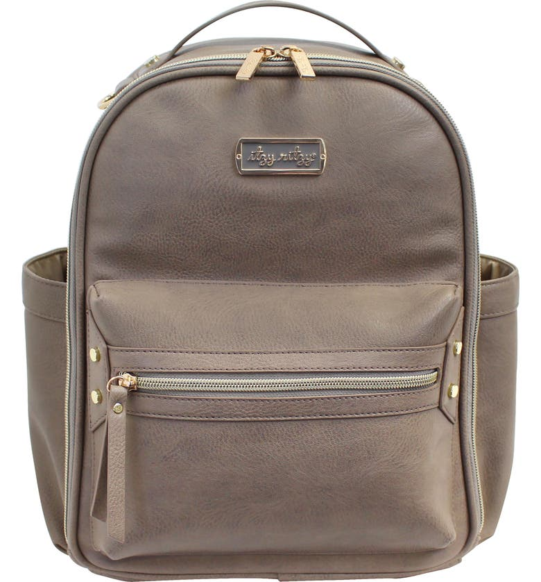 ITZY RITZY Faux Leather Mini Diaper Backpack, Main, color, TAUPE