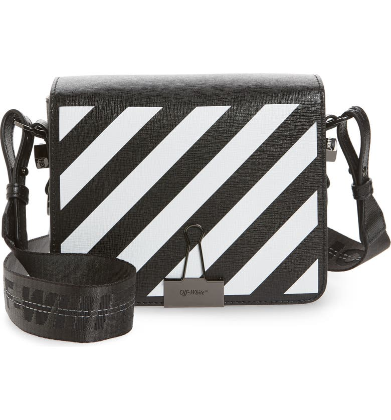 OFF-WHITE Diagonal Stripe Mini Flap Bag, Main, color, 001