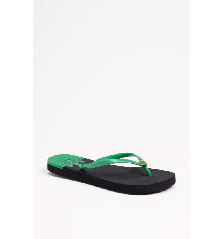 TORY BURCH 'Stacked T' Flip Flop, Main, color, GRASS GREEN
