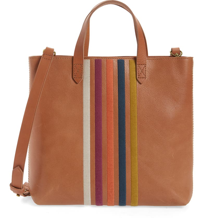 MADEWELL The Transport Stripe Embroidered Zip Top Crossbody Tote, Main, color, 200