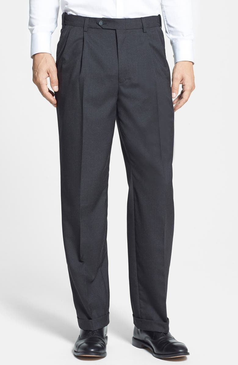 BERLE Self Sizer Waist Pleated Classic Fit Dress Pants, Main, color, CHARCOAL