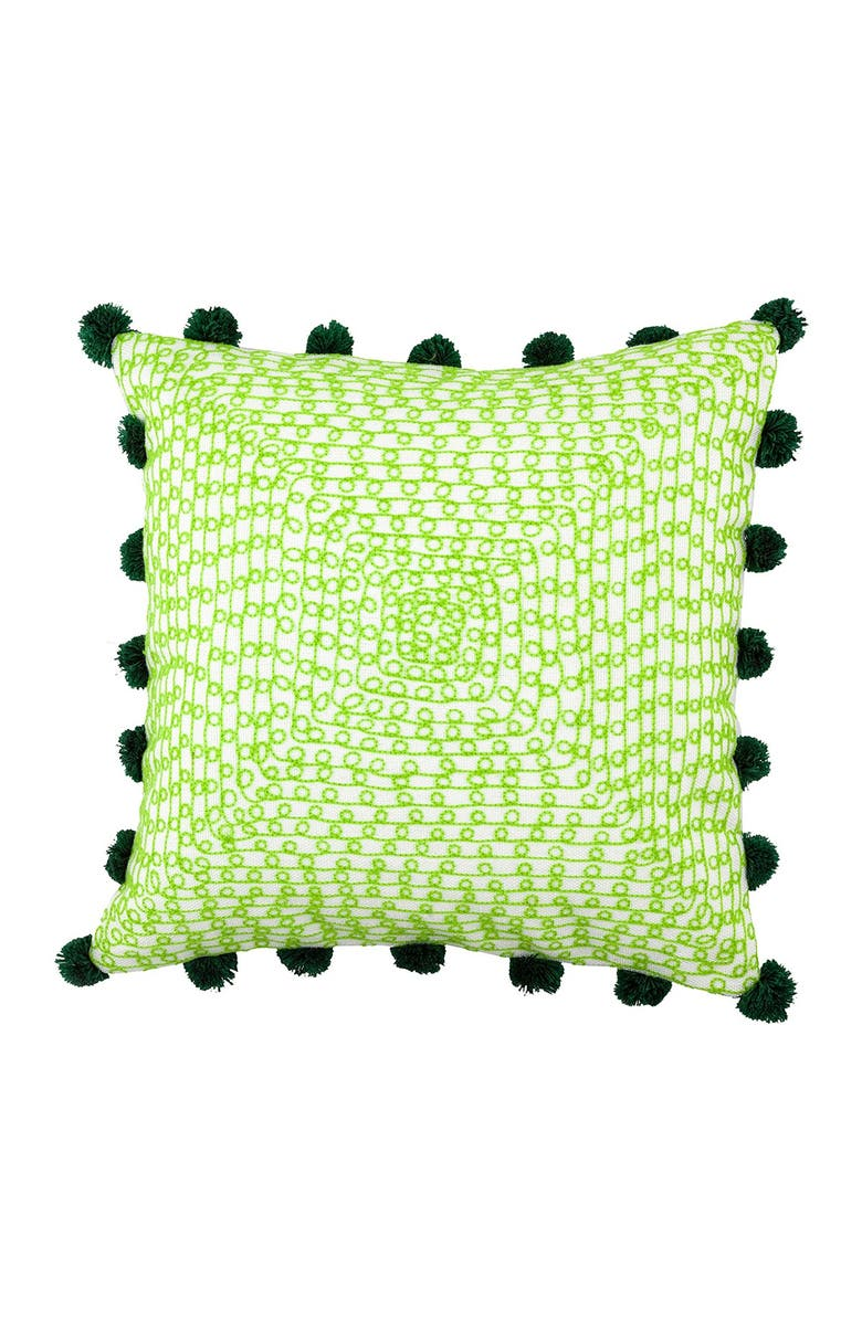 """DIVINE HOME Embroidered Infinity Loops Outdoor Pillow - 17"""" x 17"""" - Green, Main, color, GREEN"""