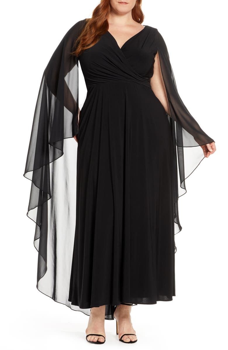 XSCAPE Side Ruched Long Sleeve Chiffon Gown, Main, color, Black