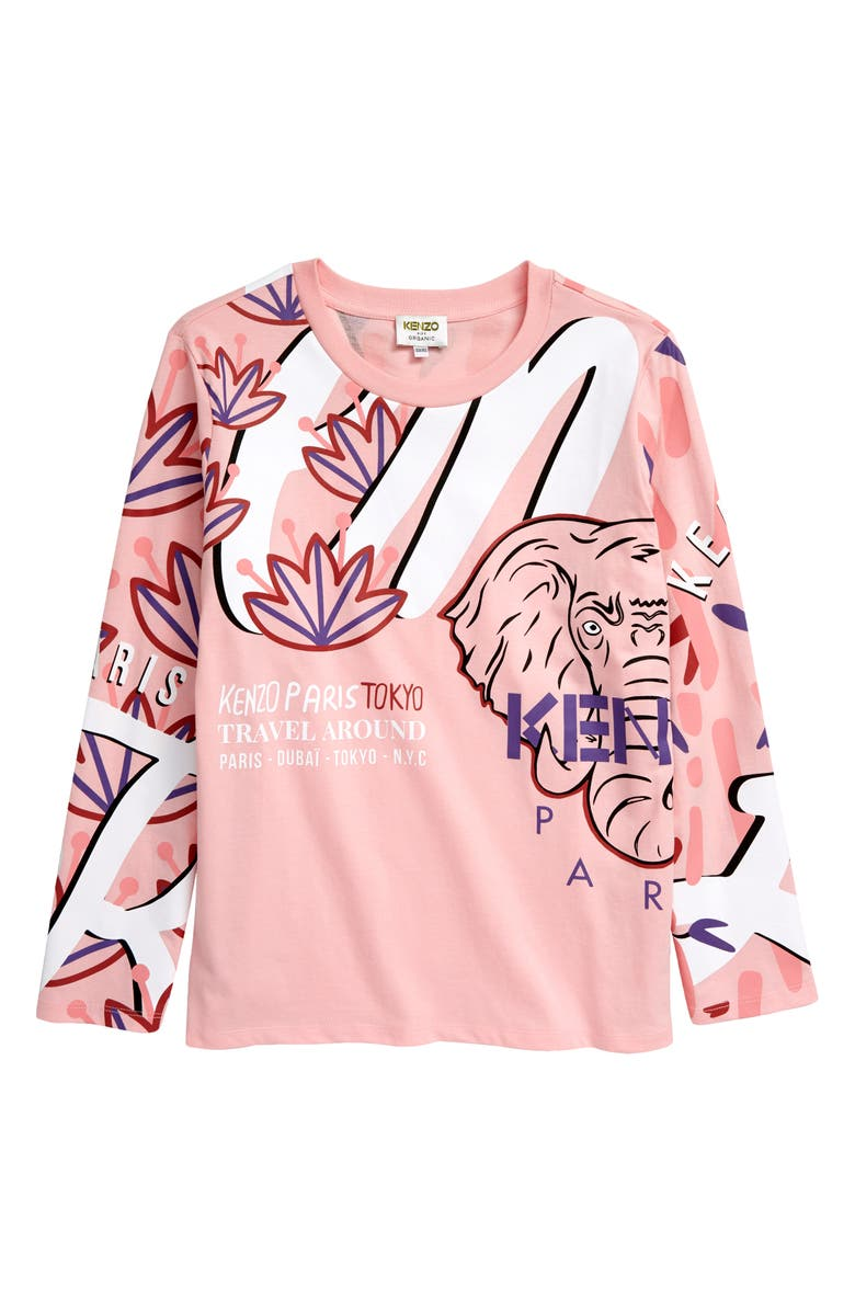 KENZO Multi Iconic Long Sleeve Graphic Tee, Main, color, BUBBLE PINK