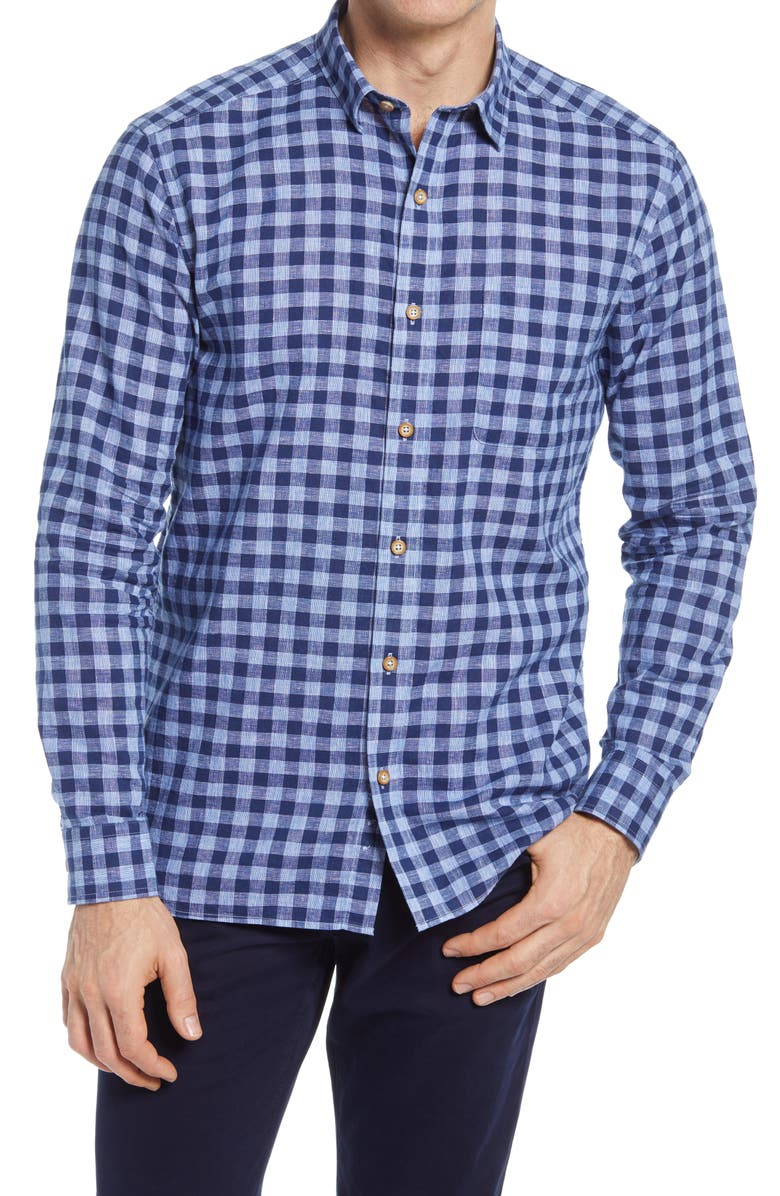 JOHNSTON & MURPHY Washed Linen & Cotton Button-Up Shirt, Main, color, NAVY TWO-TONE GINGHAM
