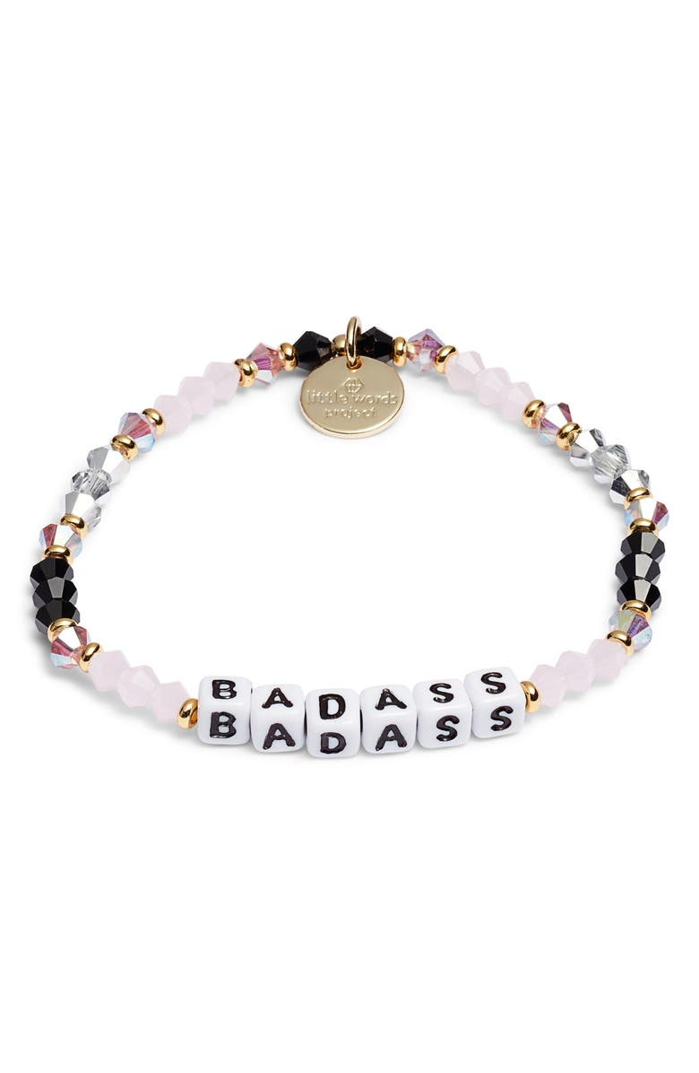 LITTLE WORDS PROJECT Badass Beaded Stretch Bracelet, Main, color, PINK/ WHITE
