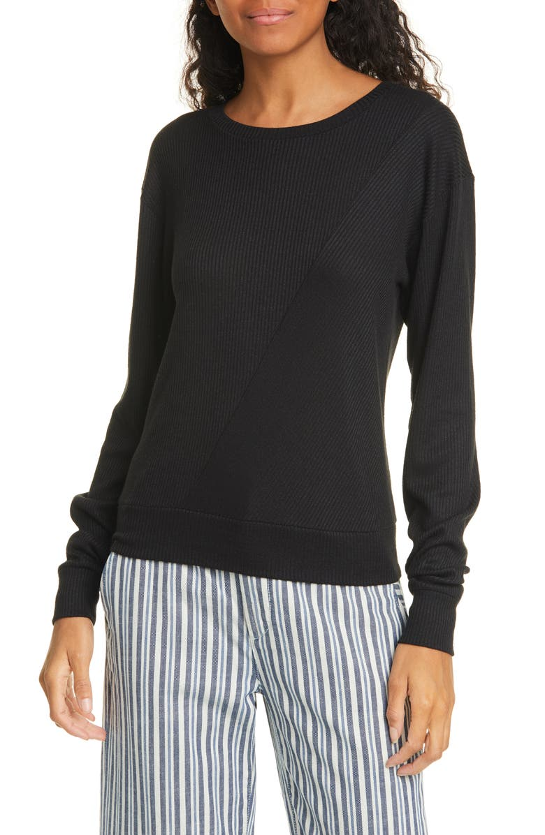 RAG & BONE Hudson Long Sleeve Ribbed T-Shirt, Main, color, 001