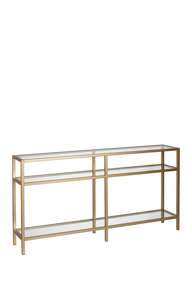 """ADDISON AND LANE Sivil 55"""" Brass Finish Console Table, Main, color, BRASS"""