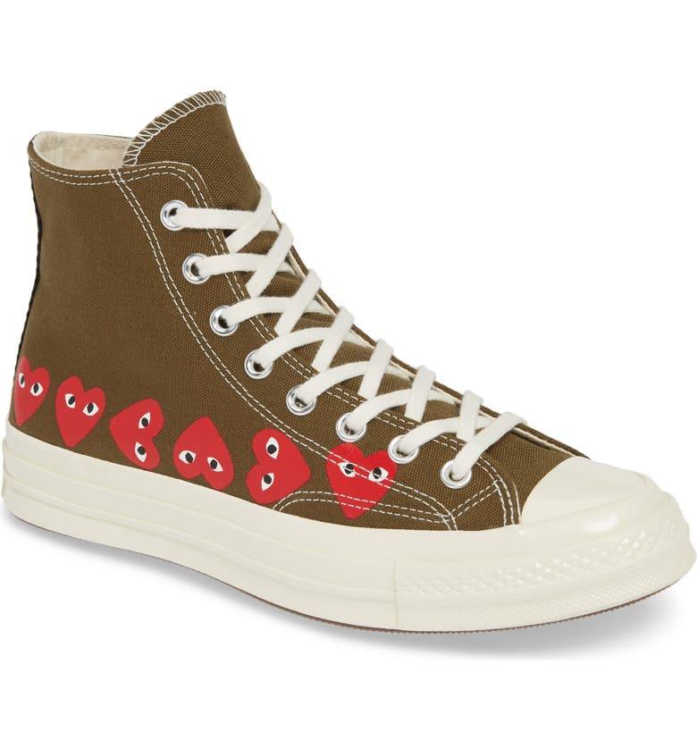 COMME DES GARÇONS PLAY x Converse Chuck Taylor<sup>®</sup> High Top Sneaker, Main, color, KHAKI