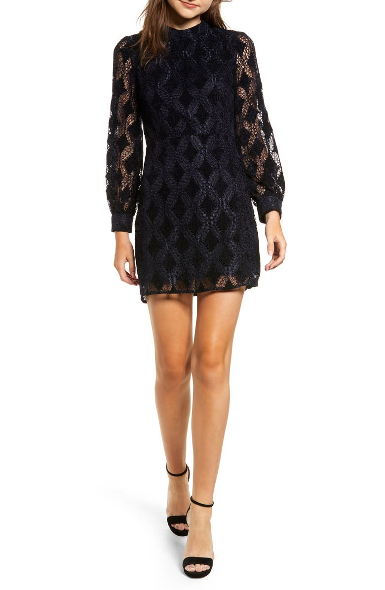 MOON RIVER Puff Sleeve Chenille Lace Dress, Main, color, NAVY VELVET