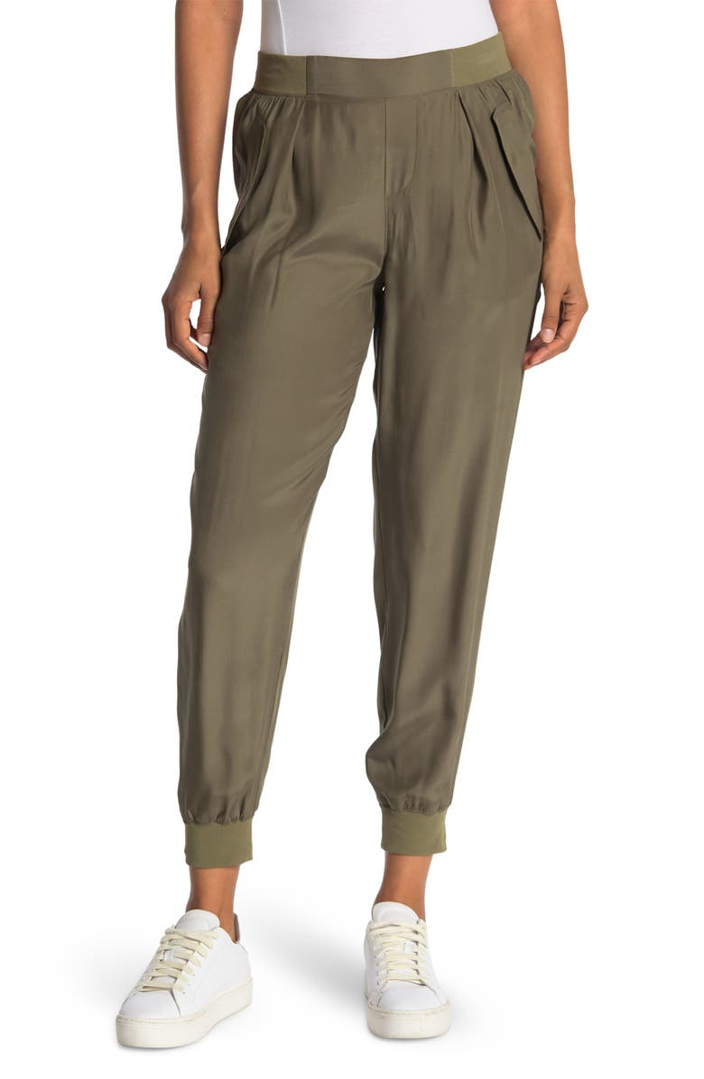 ATM ANTHONY THOMAS MELILLO Silk Charmeuse Tapered Utility Pants, Main, color, ARMY 2003 COMBO