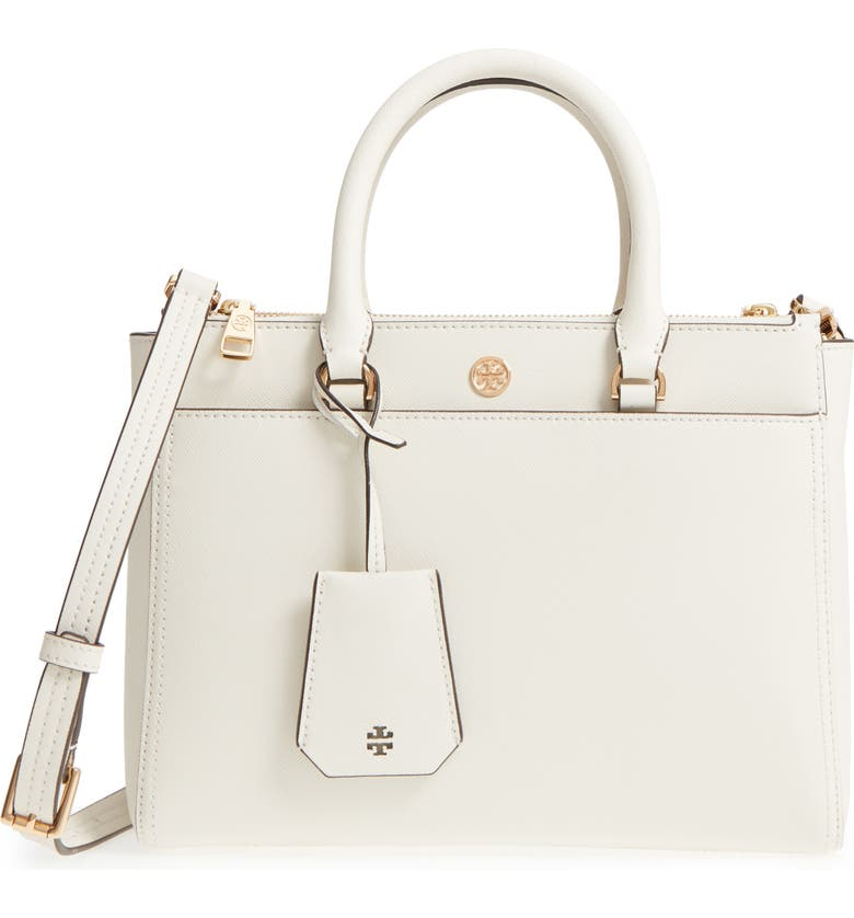TORY BURCH Small Robinson Double-Zip Leather Tote, Main, color, 107