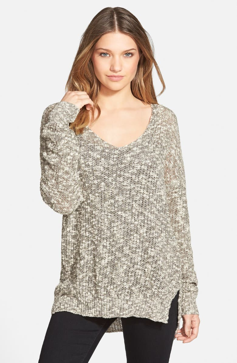 SUN & SHADOW Marled V-Neck Sweater, Main, color, 001
