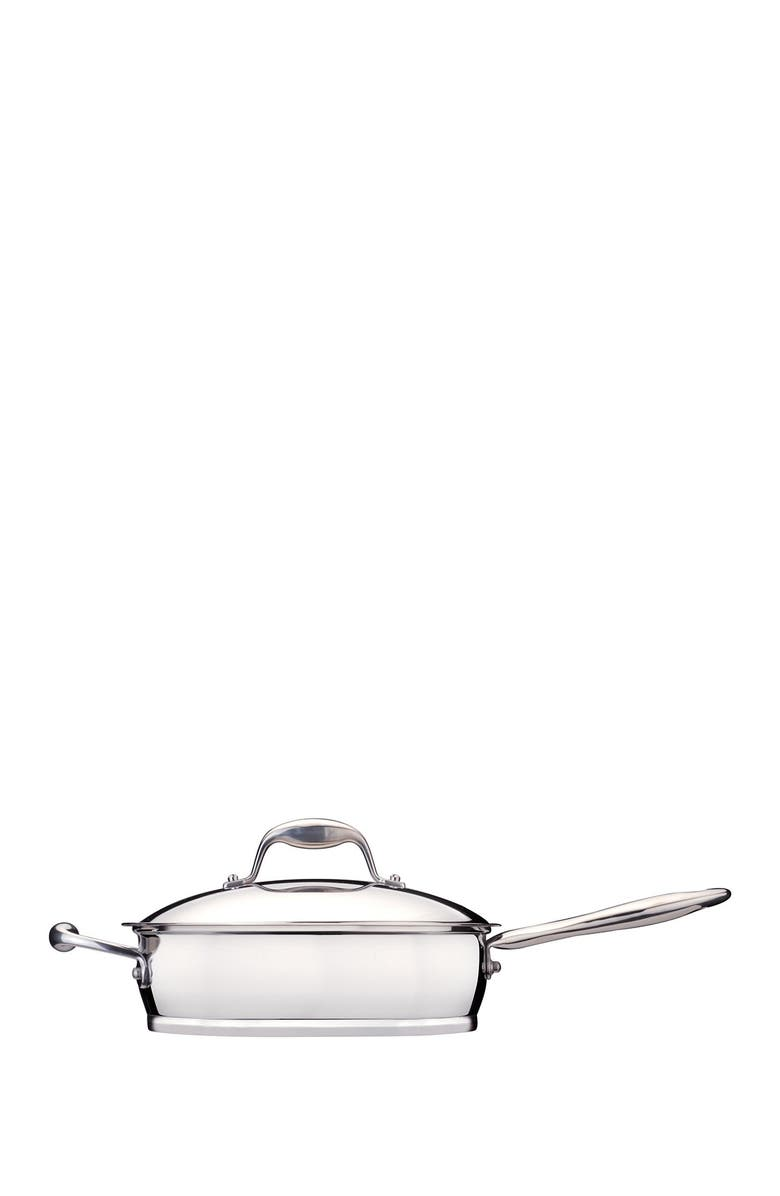 BERGHOFF INTERNATIONAL Zeno 2.6 Quart Stainless Steel Covered Deep Skillet, Main, color, SILVER