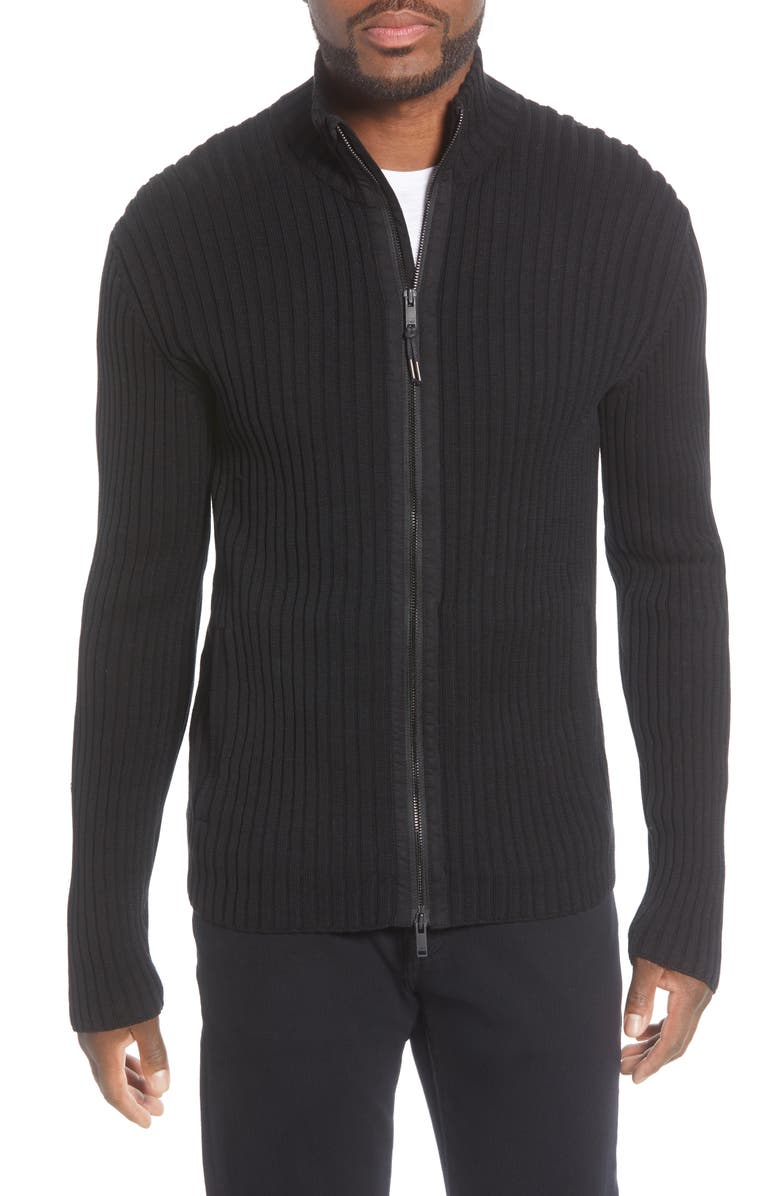 JOHN VARVATOS STAR USA Lincoln Ribbed Zip Front Mercerized Cotton Sweater, Main, color, 001