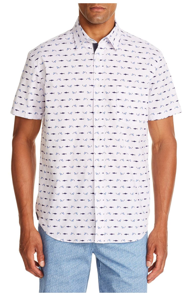 CONSTRUCT Dolphin Print Slim Fit Shirt, Main, color, WHITE/BLUE