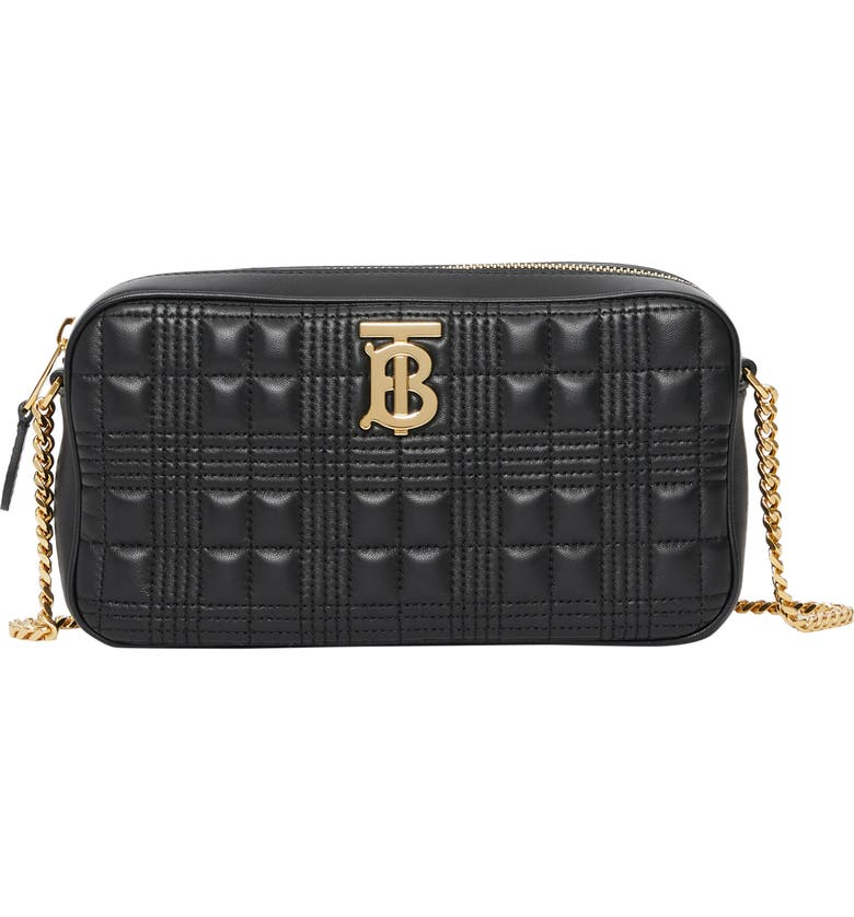 BURBERRY TB Quilted Check Leather Camera Crossbody Bag, Main, color, 001