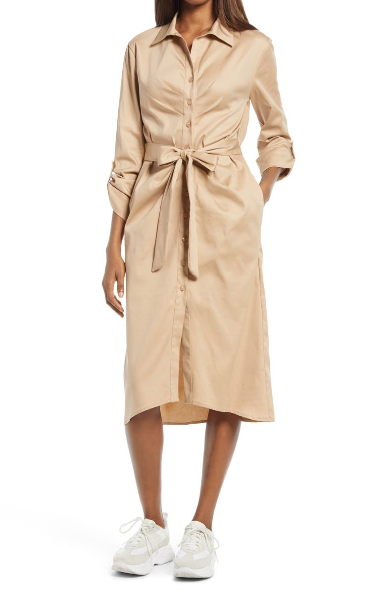 FRAICHE BY J Tie Front Long Sleeve Shirtdress, Main, color, TAUPE