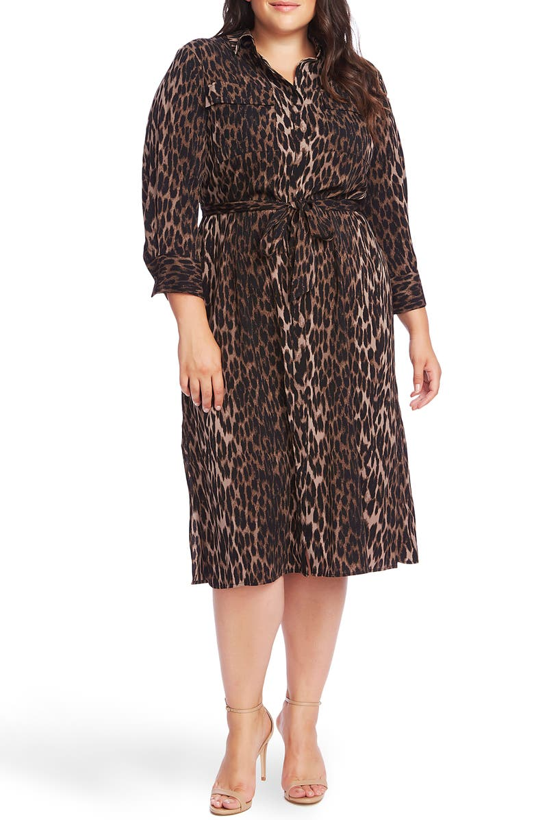VINCE CAMUTO Animal Phrases Shirtdress, Main, color, RICH BLACK