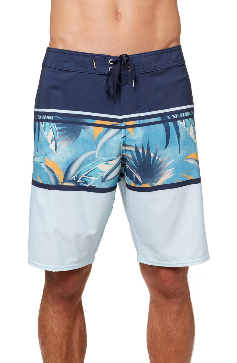 O'NEILL Hyperfreak Heist Palm Print Board Shorts, Main, color, NAVY