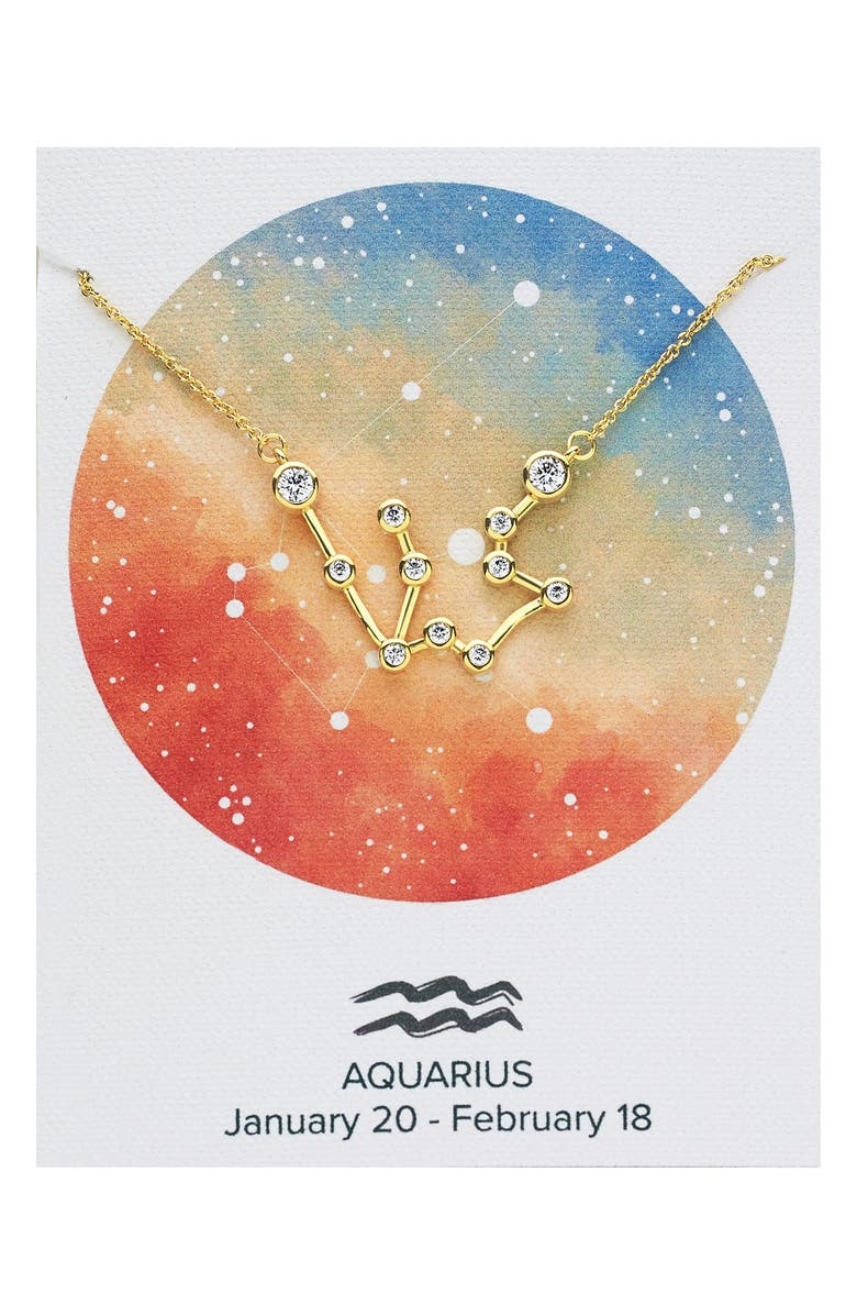 STERLING FOREVER Constellation Necklace, Main, color, GOLD - AQUARIUS